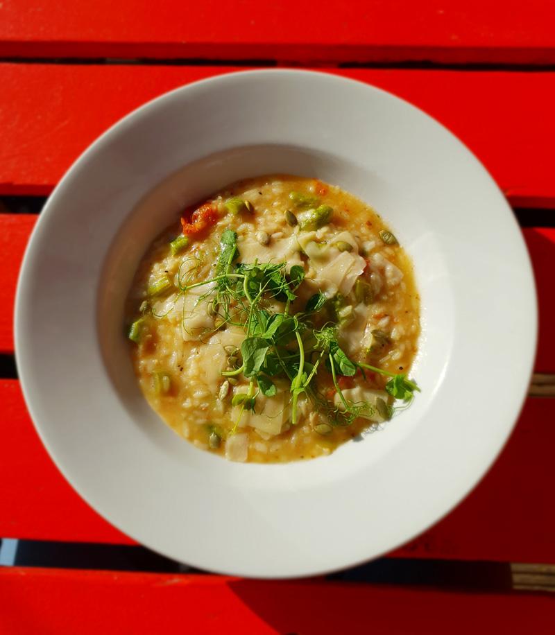 Asparagus & tomato risotto